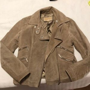 Michael kors tan suede moto jacket womens